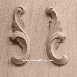 pair wood and resin moldings appliques moulure decorative. Black Bedroom Furniture Sets. Home Design Ideas